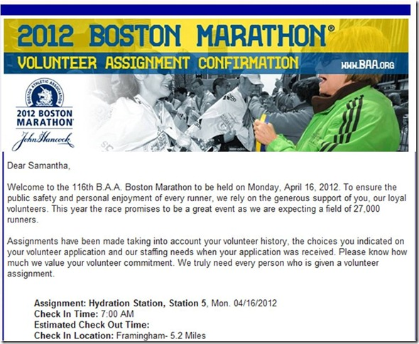 Boston Marathon Volunteer Acceptance